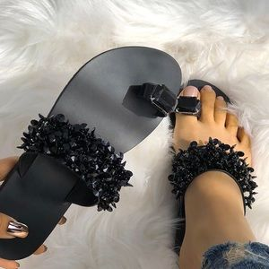 Black Crystal Toe Ring flat Sandal
